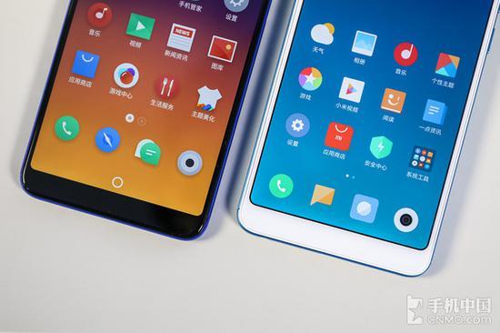 魅蓝E3和红米Note 5(右)