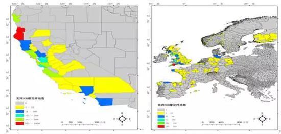 """图3 美国/欧洲各郡""""树流感""""爆发点数分级图"""