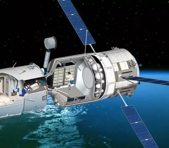 """欧洲自动转移飞行器(右)和""""国际空间站""""对接后航天员搬运货物示意图,图片来源作者"""