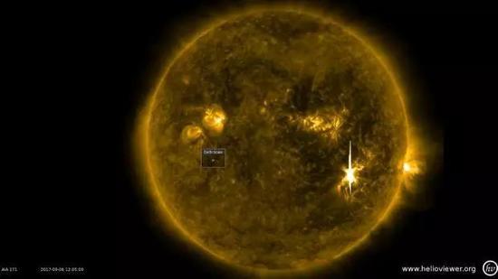 昨天本周三,太阳表面爆发了强烈的太阳耀斑,对地球的无线电通信造成了干扰。