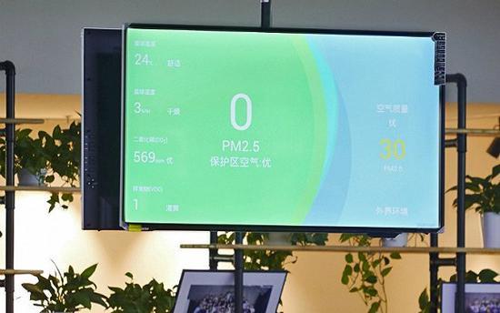 蚂蜂窝办公室的大屏幕上会实时显示屋内的空气质量数据