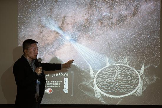 FAST工程副总工程师李�在介绍新脉冲星发现过程。 新华社 图