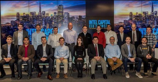 在美国旧金山举行的INTEL投资新闻发布会上,新加入INTEL投资组合大家庭的15家企业创始人和CEO集体亮相