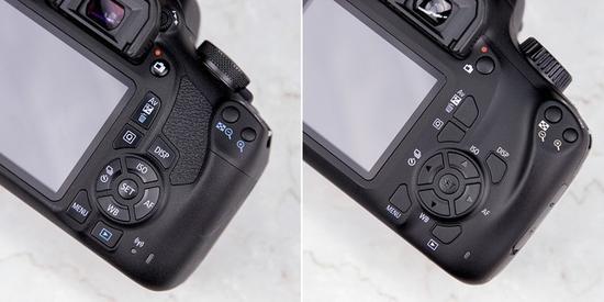 操控按键区域,佳能EOS1500D(左)与EOS3000D(右)的设计基本相同