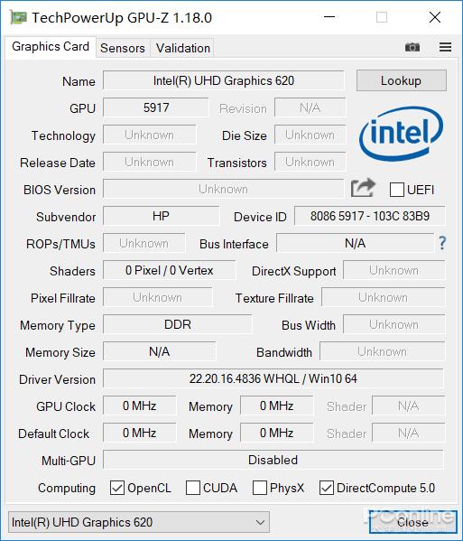 英特尔 UHD Graphics 620核心显卡参数