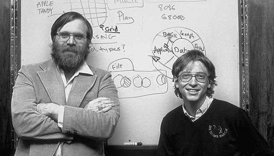 1975 年的保罗・艾伦和比尔・盖茨。图/eyerys