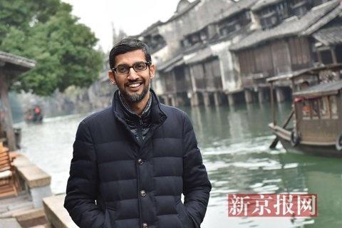 GoogleCEO皮猜漫步在乌镇西栅景区。新京报记者 陶冉 摄