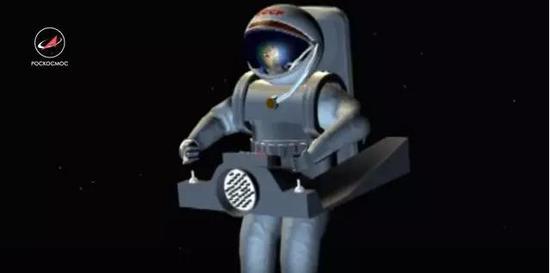 艺术概念图:宇航员驾驶太空摩托车在空间轨道中更加方便地移动
