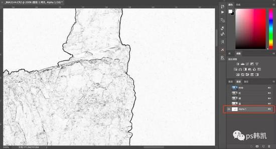 点击滤镜――风格化――查找边缘;边缘线以黑色显示出来