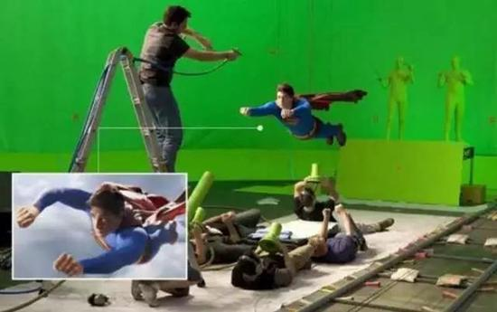 电影拍摄现场 绿布背景、穿绿衣的工作人员。