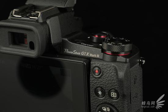 佳能G1 X Mark III取景器和肩部曝光补偿转盘
