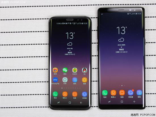 三星Galaxy S8(左)和Galaxy Note8(右)