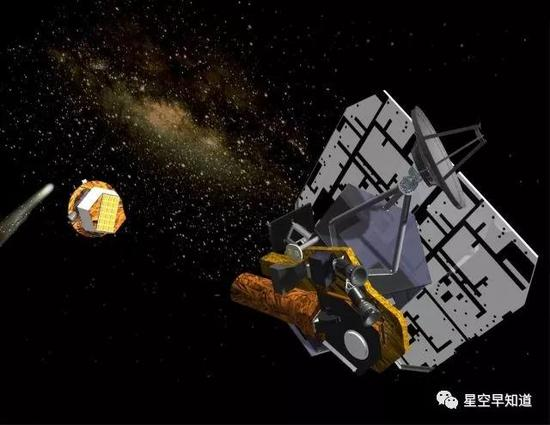 """""""深度撞击""""任务示意图。可以看到探测器分为两部分:撞击器和母船。此时撞击器已经分离,正向彗星冲去   来源:wiki"""