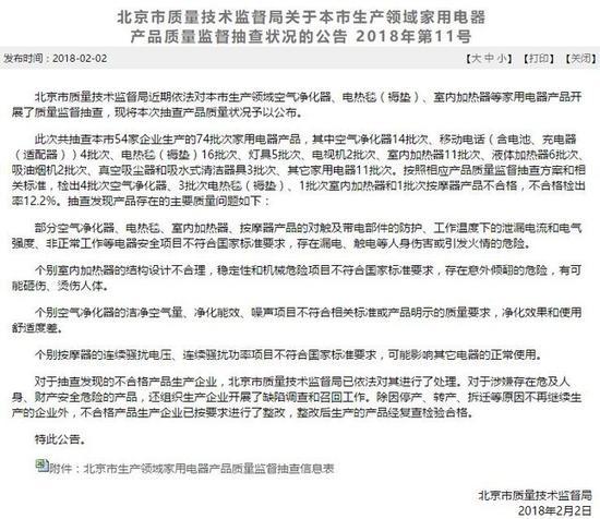 北京市质监局抽查结果公告