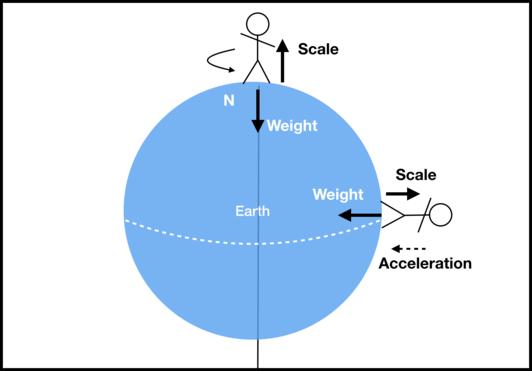 事实上,相同体重的两个人分别位于赤道和北极,他们在体重秤上体现的重量数值是不一样的,在赤道地区会产生一个加速度,通常体重会略轻一些。