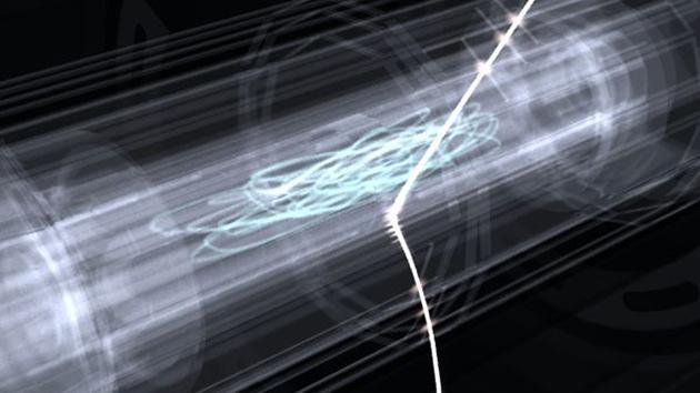 """艺术想象图:被隔离起来的反氢原子。在""""陷阱""""中游荡了一段时间之后,反氢原子会被释放出来,用激光进行轰击,产生能够被附近探测器追踪的信号。"""