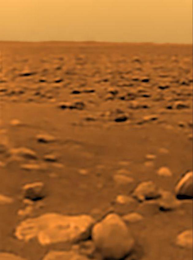 惠更斯号着陆点的图像,可以看到大量鹅卵石形状的石块,这里是一处河滩