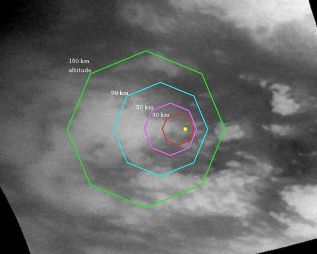 这张地图展示的是2005年1月14日惠更斯探测器降落到土卫六表面的大致位置。各种颜色的线段圈出的是惠更斯探测器下降过程中能够观测到的区域范围,随着高度下降,其观测范围越来越小,最后的黄点是它的着陆位置