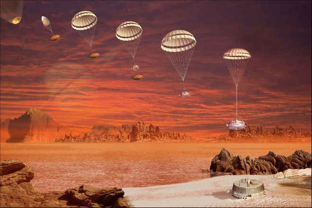 惠更斯着陆器打开降落伞在土卫六大气层中下降的示意图