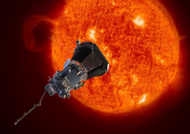 艺术示意图:正在轨道运行的帕克太阳探测器