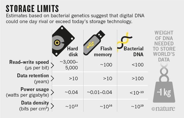 硬盘、U 盘、细菌 DNA 在读写速度、数据保留时间、耗电量、数据密度上的对比,图片来源:Nature