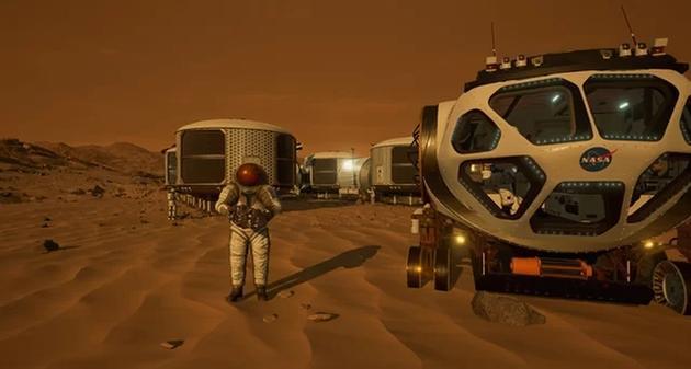 在虚拟现实游戏《火星2030》中,玩家可以在40平方公里的火星表面进行探索,这些模拟场景都是基于火星勘测轨道器的原始数据生成的,玩家将在游戏中体验到一个未来栖息地。