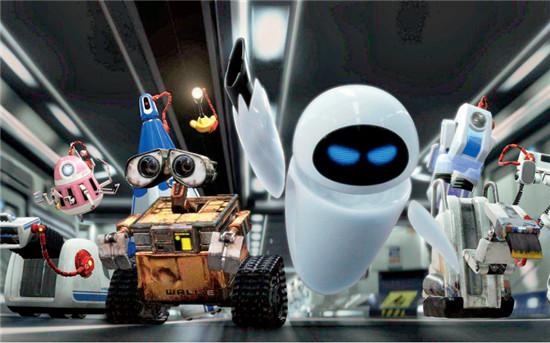 P74 科幻动画电影《机器人总动员》中,人类大部分工作均被人工智能替代,并差点引发巨大事故。图为《机器人总动员》宣传画。