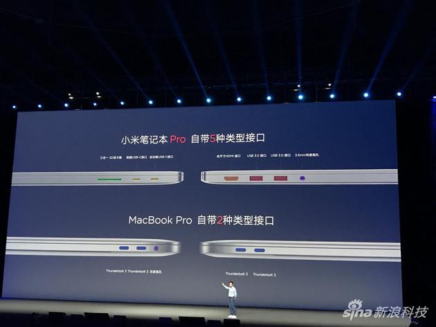 我们在小米发布会拍摄的照片,接口依旧比MacBook扁,而且视觉上更薄