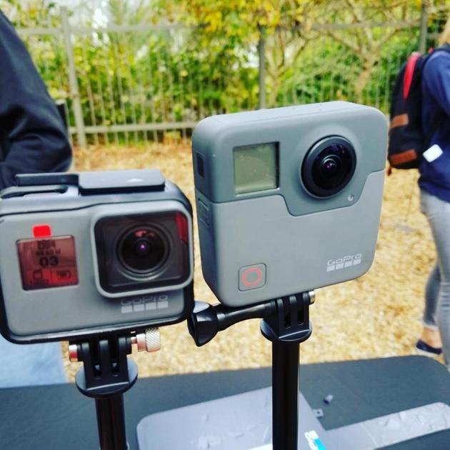 GoPro新产品Hero6 Black和全景相机Fusion(右)