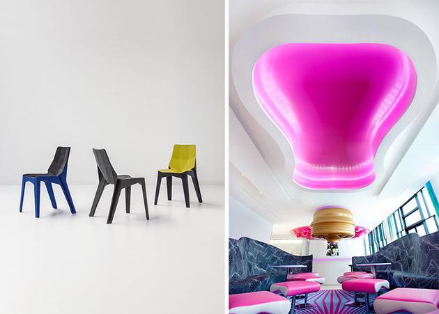 Karim Rashid 的作品:Bonaldo Poly XOXO 座椅系列(左)、柏林 nhow 酒店
