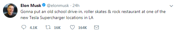 马斯克在Twitter上宣布开一个汽车穿梭餐厅