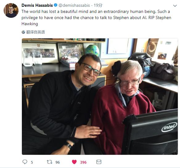 世界失去了一个美丽的心灵,也失去了一位杰出的人类。能与史蒂芬交流AI,何其有幸。安息,史蒂芬・霍金。――DeepMind CEO哈萨比斯