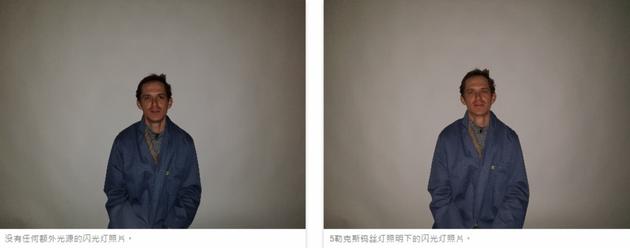 左为没有任何额外光源的闪光灯照片。 右为5勒克斯钨丝灯照明下的闪光灯照片。