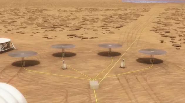 """图中是艺术家描绘的布设在火星表面的""""Kilopower""""发电装置。"""