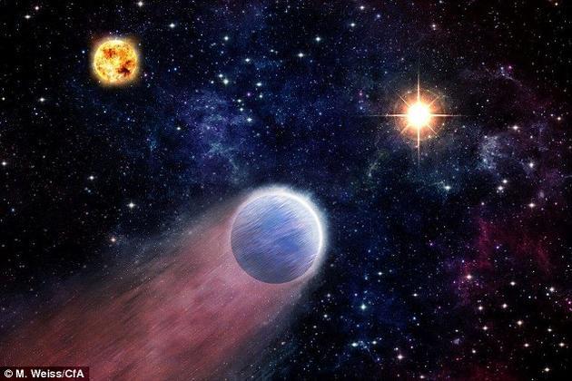 """一项新研究指出,高能粒子爆发或许影响了整个宇宙中行星的形成方式。从超大质量黑洞中喷射出的高能粒子能够剥除""""迷你海王星""""表面厚厚的大气层,露出中央的岩质内核,形成所谓的""""超级地球""""。"""