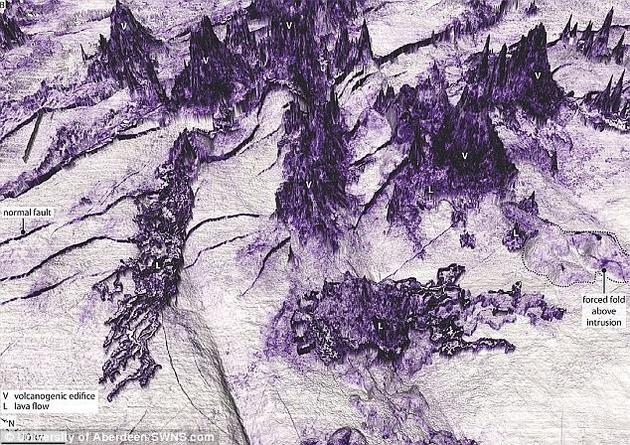 """这种海底景观形成于3500万年前多次海底火山喷发过程,壮观的海底景观被描述为""""托尔金派(Tolkienesque)""""景观,与《指环王》中邪恶的魔多领地十分相似。"""