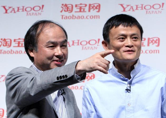 孙正义(左)与马云(右)