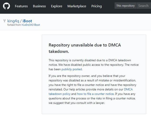 GitHub网页截图:iBoot源码页已基于《数字千年版权法案》的请求而撤除