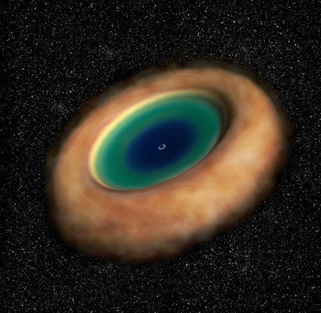由灰尘物质构成的超大质量黑洞圆环(橙黄色部分)环绕吸积盘和奇点(艺术家想像的黑色部分)。