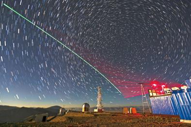"""""""墨子号""""量子科学实验卫星与阿里量子隐形传态实验平台建立天地链路(合成照片,2016年12月9日摄)。新华社记者金立旺摄"""