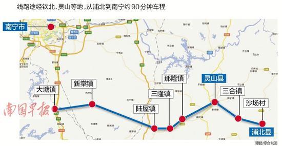 路线起点位于南宁至北海高路公路与吴圩至大塘高速交叉处,设置那团